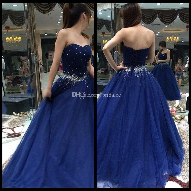 Splendido blu navy Quinceanera Abiti 2017 Ball Gown con perline Paillettes Tulle Organza Sweet 16 Dress Vestidos 15 anos