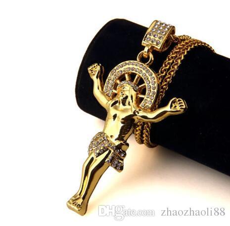 18k plaqué or Hip Hop collier Jésus tout le corps glacé CZ pendentif chaîne de blé