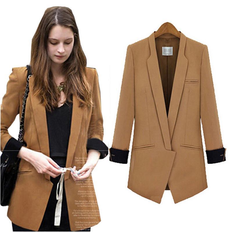 Nice Spring/Autumn New Suits Women Slim Women Clothes Long Sections Hit Color Wild Suits Jacket Coat Fashion Woman Suit Long Sleeve