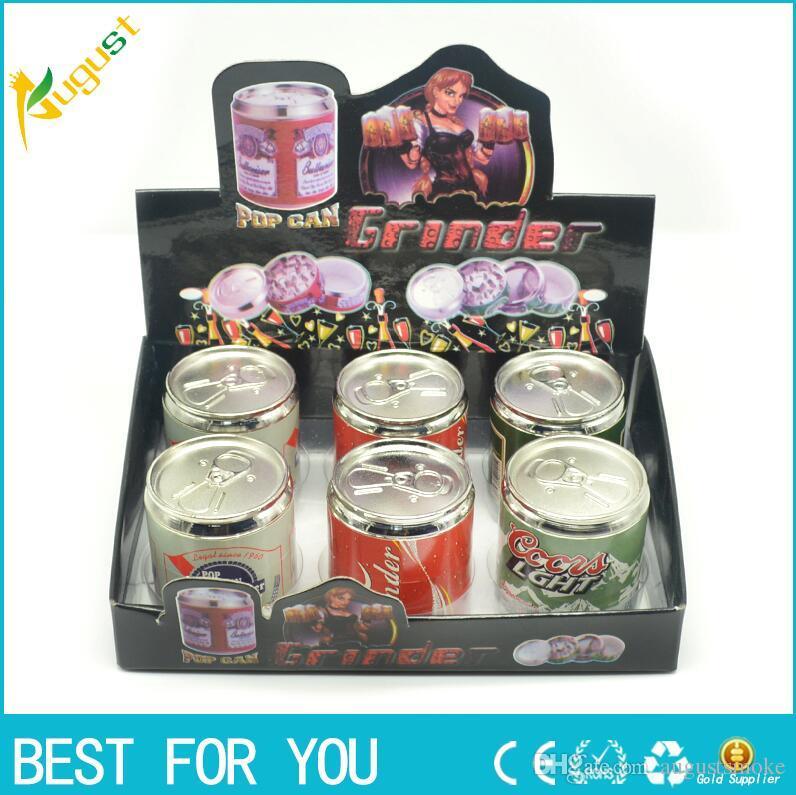 Tabacco Grinder Coke Pop Lattine Herb Pollen Spice Crusher 4 Parti mano Mull Grinder Trasporto libero di alta qualità