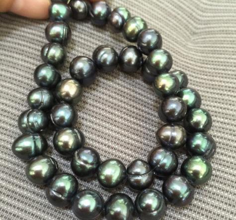 Venta al por mayor 10-11 mm barroco mares del sur negro verde collar de perlas 18 pulgadas 14K cierre de oro