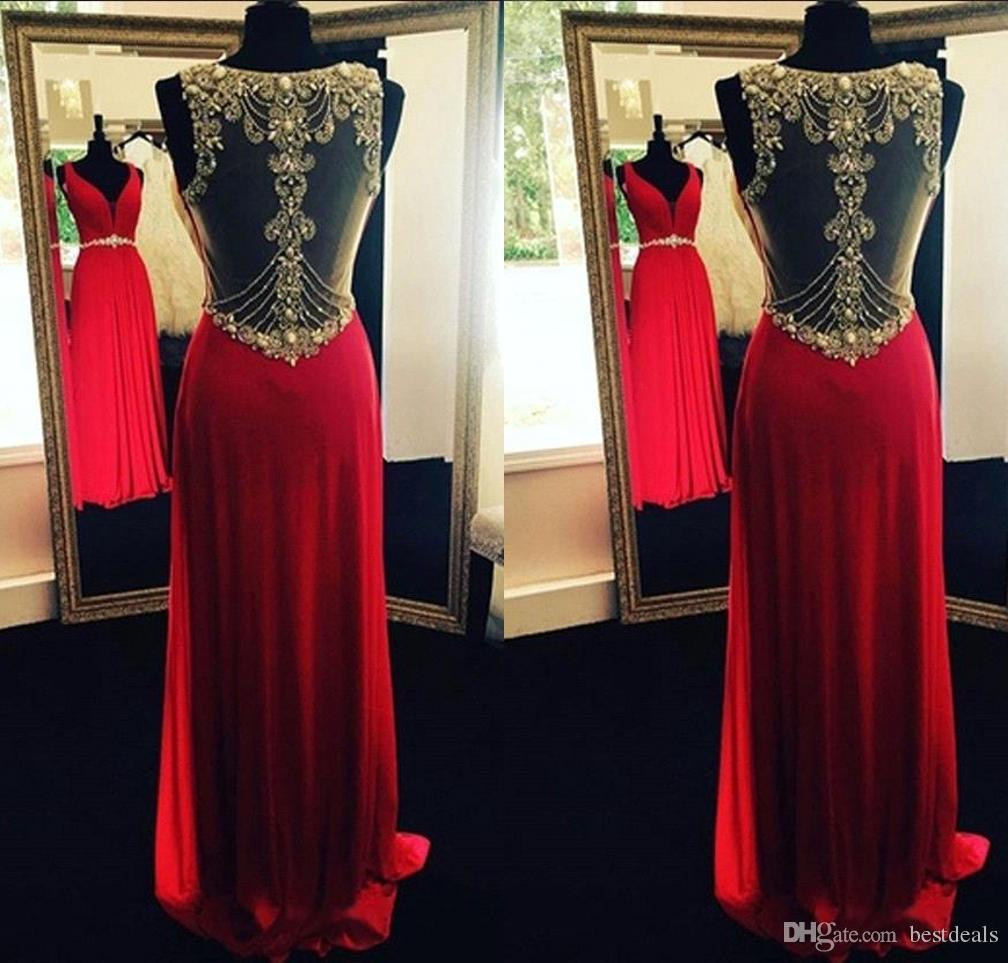Robe De Soiree Rot Tiefem V-Ausschnitt Lange Abendkleider Sheer Zurück Perlen Kristall Formale Party Kleider BA3951