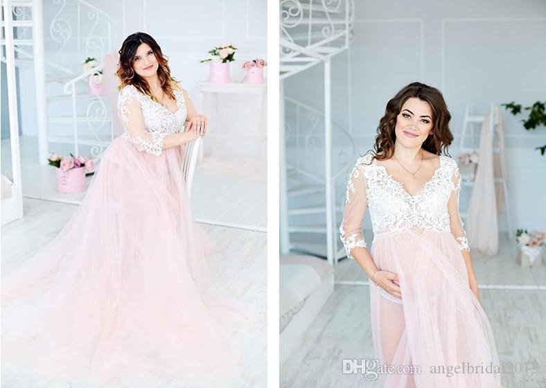See Through Long Sleeves Tulle Wedding Dresses Lace Appliques ...