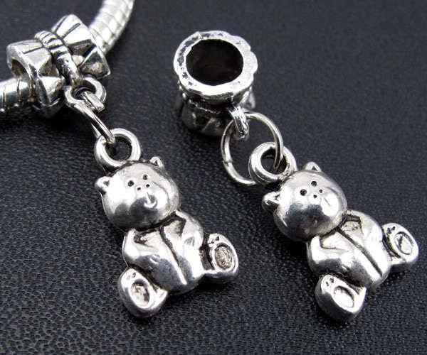 100pcs tibétain argent ours charmes pendentif balancent perles ajustement européen bracelet 26mm