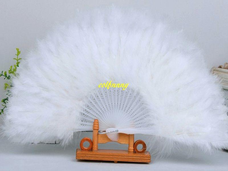10 pcs / lot Expédition rapide Feather Fans Ventilateur Pliant À La Main Fan Fancy Costumes Pour Articles De Fête De Mariage