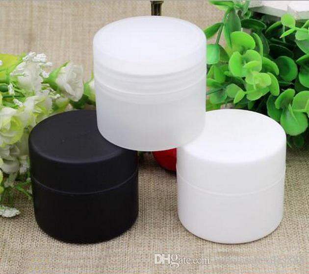 Fabrika Fiyat Krem Şişe 50g Boş Makyaj Örnek Şişeler İç Kapaklar ile Krem Jel Kavanoz Tencere (Beyaz, Siyah, Şeffaf)