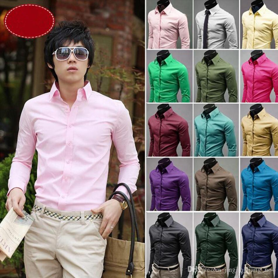 Fashion Mens Casual Long Sleeve Button Shirts Formal Fit Tops Blouse T-Shirt UK