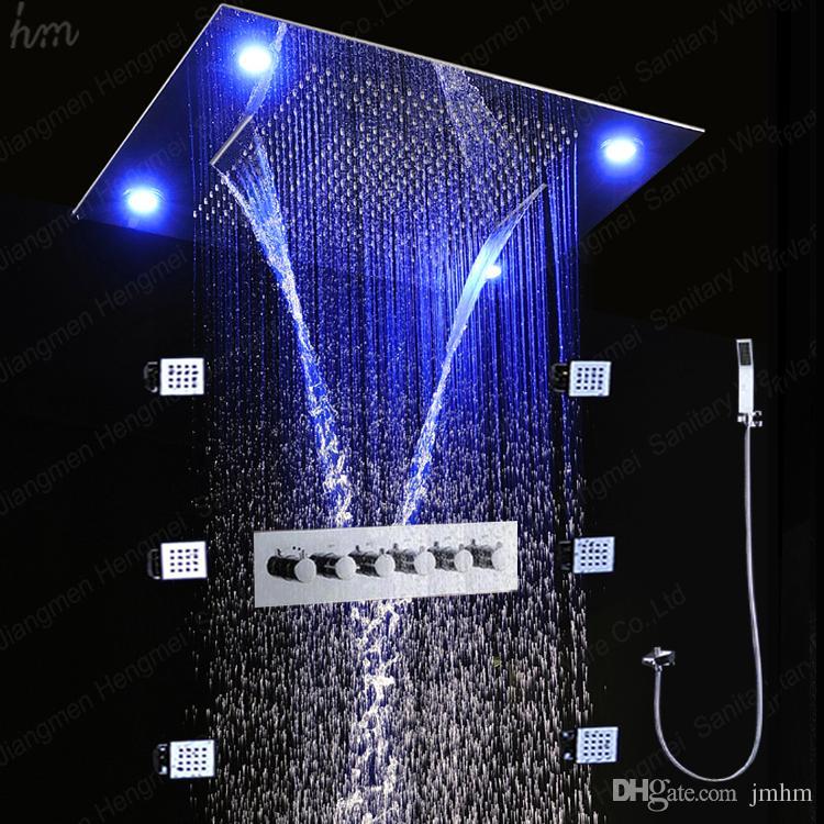 최근 천장 주도 전기 샤워 600 * 800mm 온도 조절 샤워 세트 강우량 폭포 물 커튼 다중 기능 샤워 헤드 세트