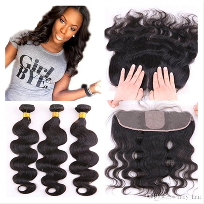 Brazilian Body Wave Silk Base Lace Frontal Closure With Bundles 4Pcs Lot Brazilian Human Hair With Silk Top Full Lace Frontal 13x4