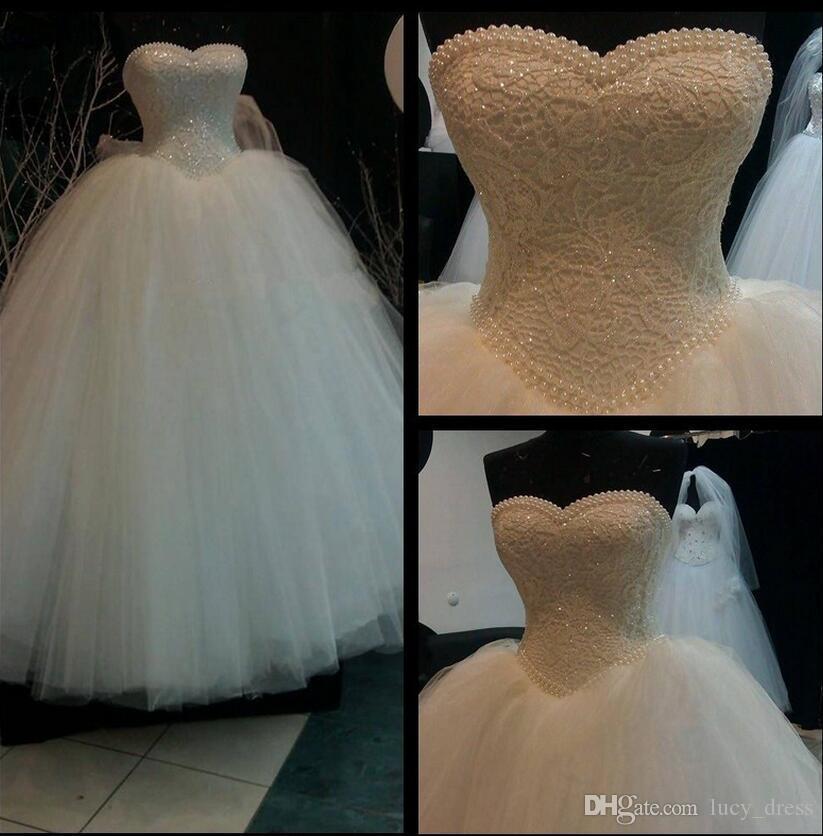 Vestido de boda del vestido de bola del vendaje de lujo sin tirantes del cordón del cordón perlas de lentejuelas vestido de boda nupcial