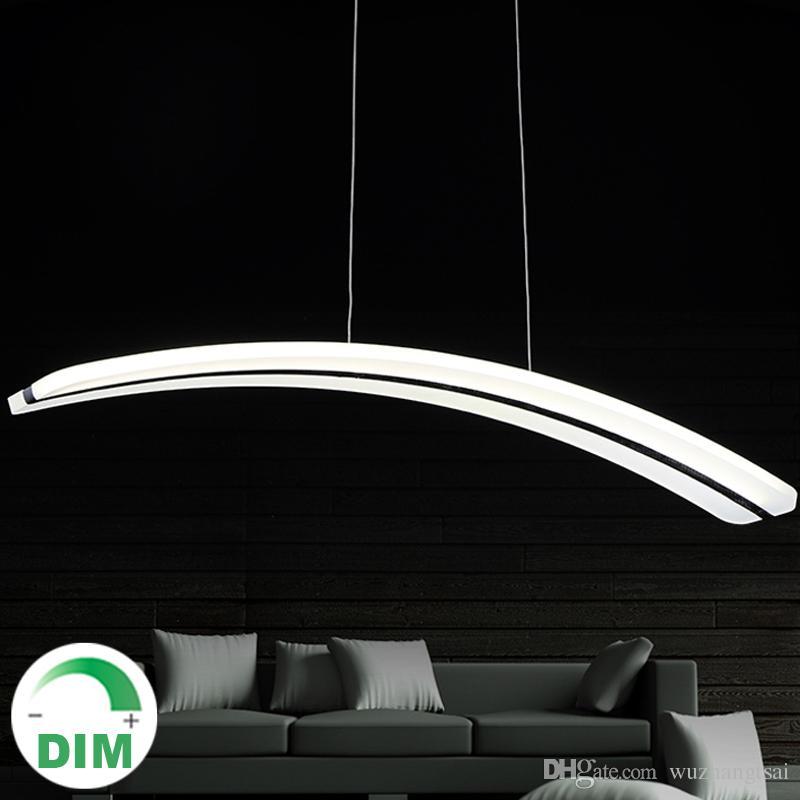 Para sala de jantar sala 110V 220v lâmpadas pingente longa pc pmma arco curva crescente forma de lua acrílico lâmpada de luz lâmpada dimmable