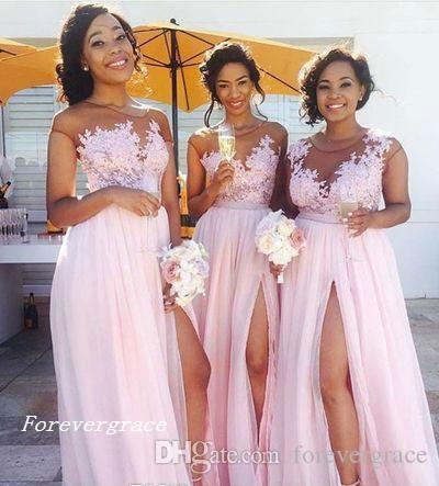 2019 Light Pink Long Bridesmaid Dress Cheap Split Side Appliques Chiffon  Garden Wedding Party Guest Maid Of Honor Gown Plus Size Custom Made Long ...