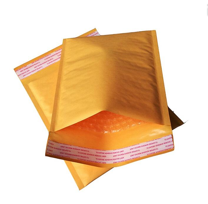 Many sizes 50pcs Small Kraft Bubble Mailers Padded Bubble Envelopes Paper Bags Envelope Yellow bubble Mailing Bag 1-10