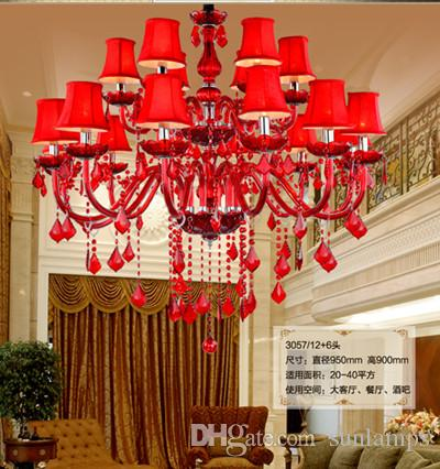 Italy hanging red glass chandelier with fabric shade Dining Room wedding Room candelabro de cristal light Cafe led lamparas 12/15/18 lights