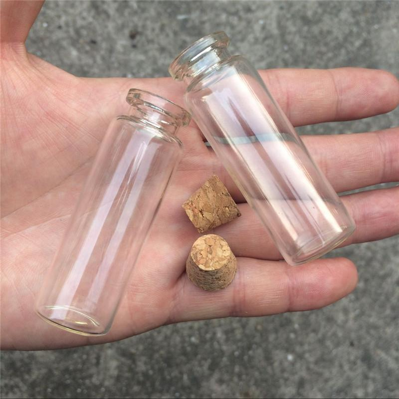 18ml Empty Cosmetic Containers Small Glass Crafts Bottles With Corks Mini Perfumes Bottle