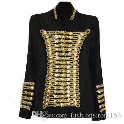 Weihnachtsgeschenk für 2016 Neue ankunft Marke Frau Jacken Napoleon Uniform Stil Schwarz stehkragen Zweireiher Schlanke wollmantel