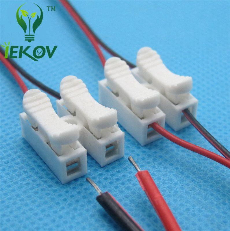 200pcs 2p Connettori a molla filo senza saldatura senza viti Morsetto cavo connettore rapido Morsetto 2 vie Easy Fit per striscia led