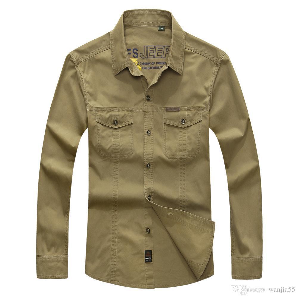 Camisa de combate para hombre U.S Camisa militar AFS JEEP Camisa de manga larga transpirable para otoño Camisa casual de ejército Camisas M-4XL