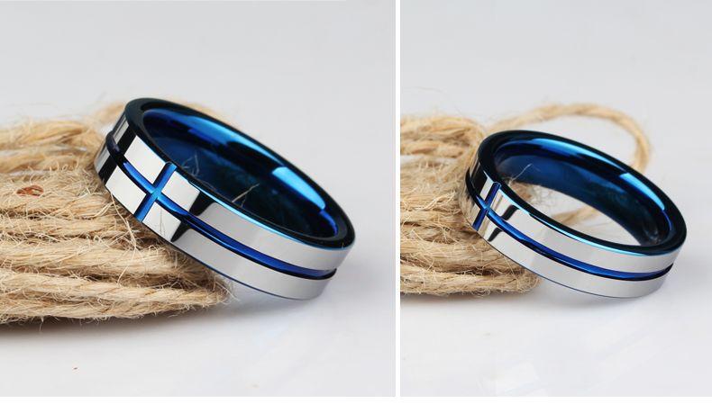 Surco de 6 mm y bandas de tungsteno para hombre plateadas en azul TUR-009