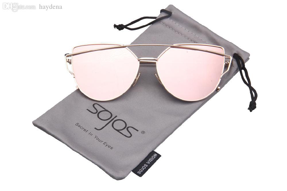 Al por mayor-SOJOS Recubrimiento Espejo Gafas de sol Mujer / Hombres Ojo de gato Gafas de sol Moda Marca Nuevo Twin-Beams Rosa gafas de sol oculos de sol 1001