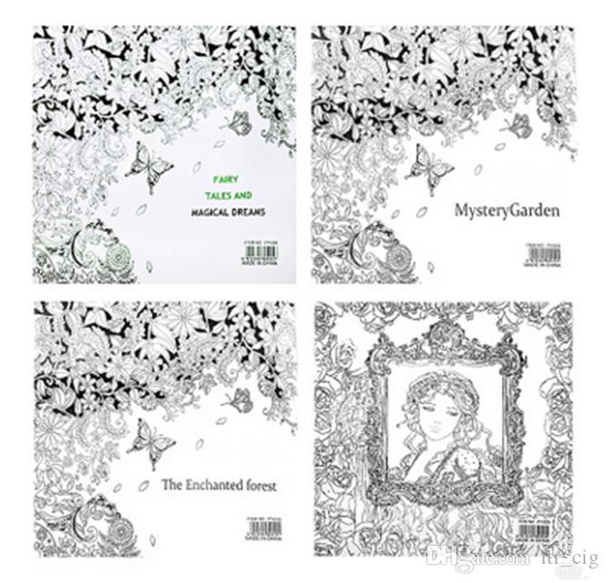 New 4 Design The Enchanted Forest Coloring Book Children Adult Relieve Stress Kill Time Graffiti Painting