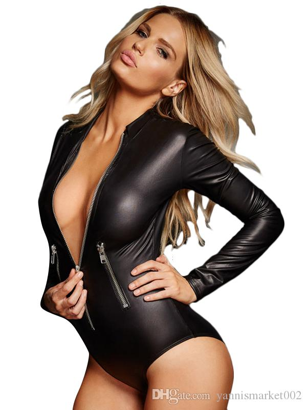 Damen Wetlook Body Tiefer V Auschnitt Bodysuit Monokini Bodycon Jumpsuit Overall