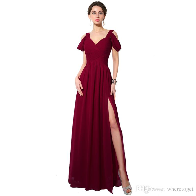 2019 Long Dark Burgundy Bridesmaid Dresses V Neck Chiffon Floor Length  Wedding Guest Wear Party Dress Plus Size Maid Of Honor Gowns Teen  Bridesmaid ...