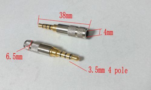20pcs mini cuivre 3.5mm 4 pôles mâle réparation casque prise de soudure