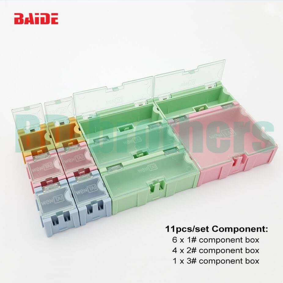 11 pezzi / set scatola di immagazzinaggio componente quadrato IC componenti scatole SMT SMD Wen tai scatole Kit 50 set / lotto