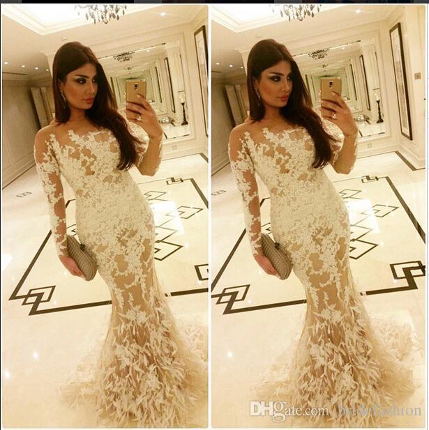 Длинные рукава русалка жемчужина кружева 3D-цветочные аппликации роскошные вечерние платья гостевые вечерние платья выпускного вечера платья вечерние коктейльные вечеринки