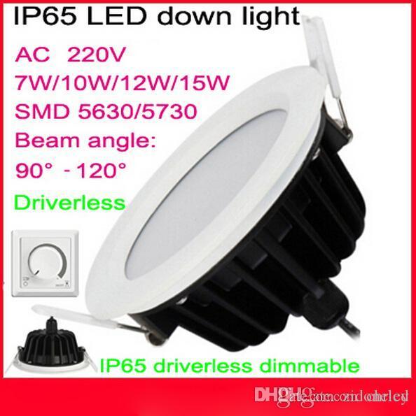 downlights à led 7w 9w 12w 15w étanche IP65 led encastrés lumières dimmable downlights led chaud / blanc froid AC85-265
