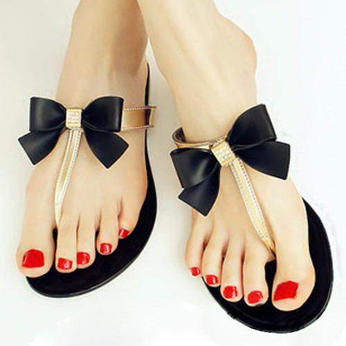 5078cbea4 Wholesale-SAF-Womens Ladies Toe Bow Diamante Jelly Summer Flat Flip Flop  Thong Sandals