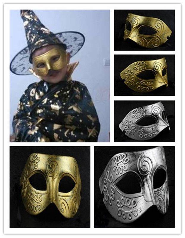 Ouro e prata Metade do Rosto máscara de guerreiros jazz Máscaras do partido Máscara de baile de máscaras veneziano Máscara do Dia Das Bruxas Sexy Carnaval Máscara de Dança máscara de cosplay