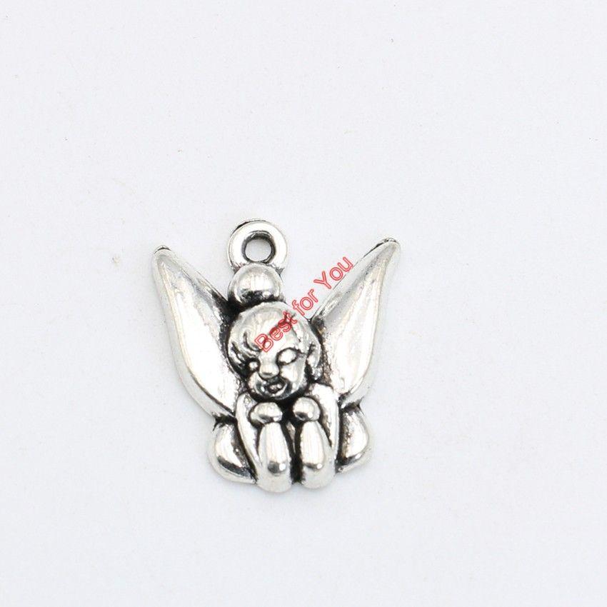 30pcs Antikes Silber überzogene Engel Fairy Charms Anhänger Armband Halskette Schmuck machen Zubehör DIY 19x17mm