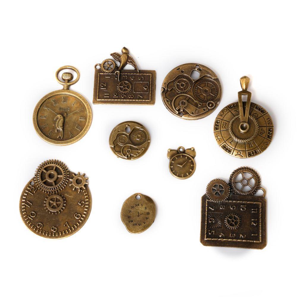 Free shipping New 18pcs/lot Zinc Alloy Antique Bronze Plated Clock Charms Vintage Tibetan Pendants DIY Bracelet Necklace jewelry making DIY