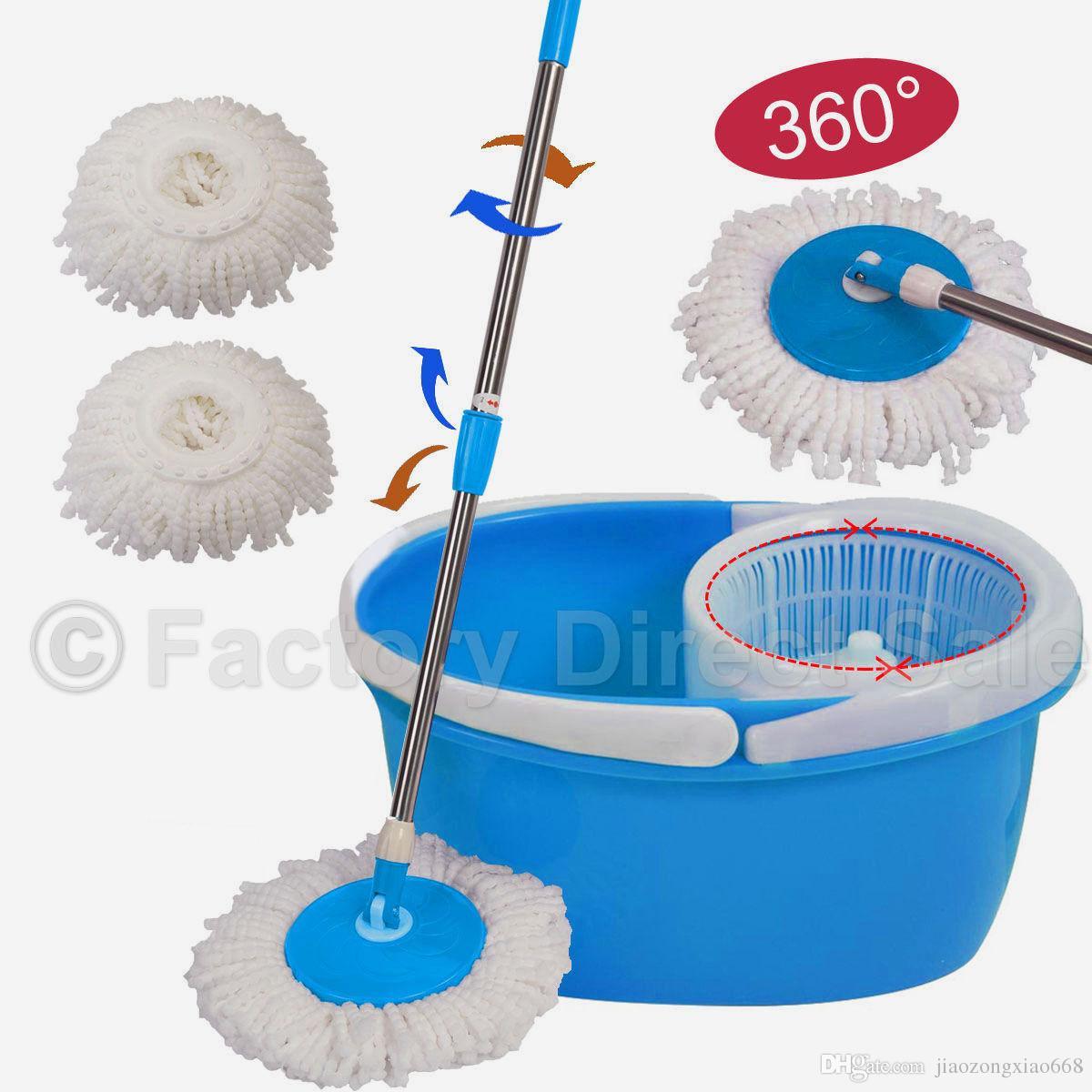 360° Rotating 2 Heads Easy Magic Floor Mop /& Bucket Microfiber Spinning Cleaner