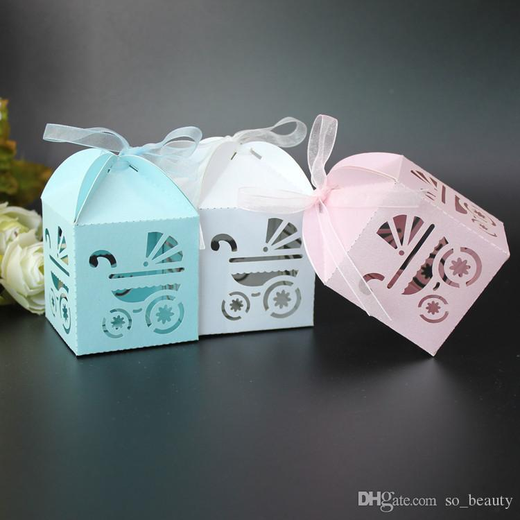 60pcs Baby Carriage Laser Cut Candy Boxes with Ribbon Wedding Favor Baby Shower Christmas Party Gift Box