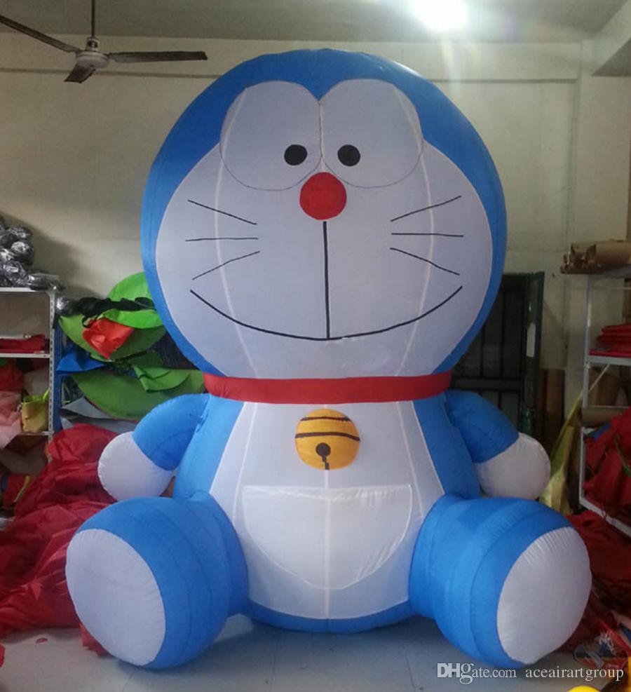 classic design standing blue Doraemon inflatable character cartoon for business