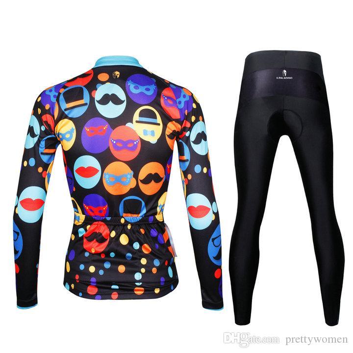 PALADIN frauen abnehmen stil karneval radfahren kleidung jersey langarm + pants herbst sport fahrrad kleidung hinten taschen mit reißverschluss