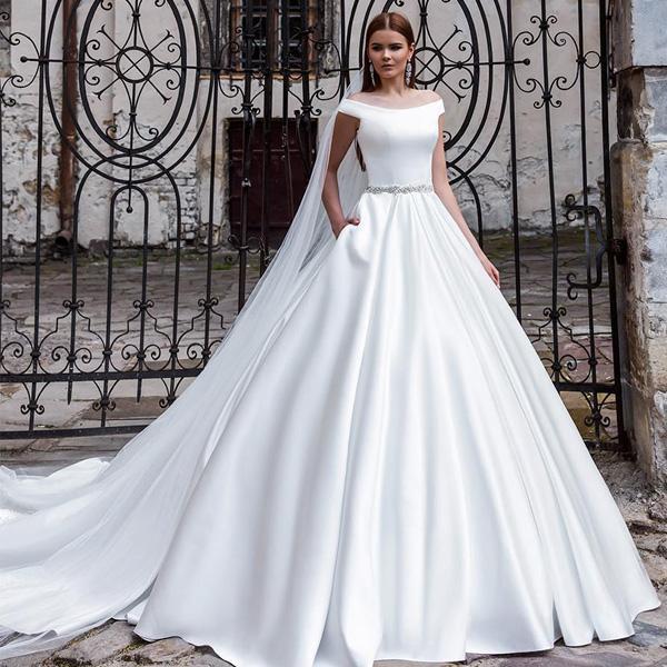 Discount New Modern Satin Wedding Dress A Line Off The Shoulder Sleeveless  Bridal Gowns With Beaded Belt Pocket Custom Made Bride Dresses Wedding