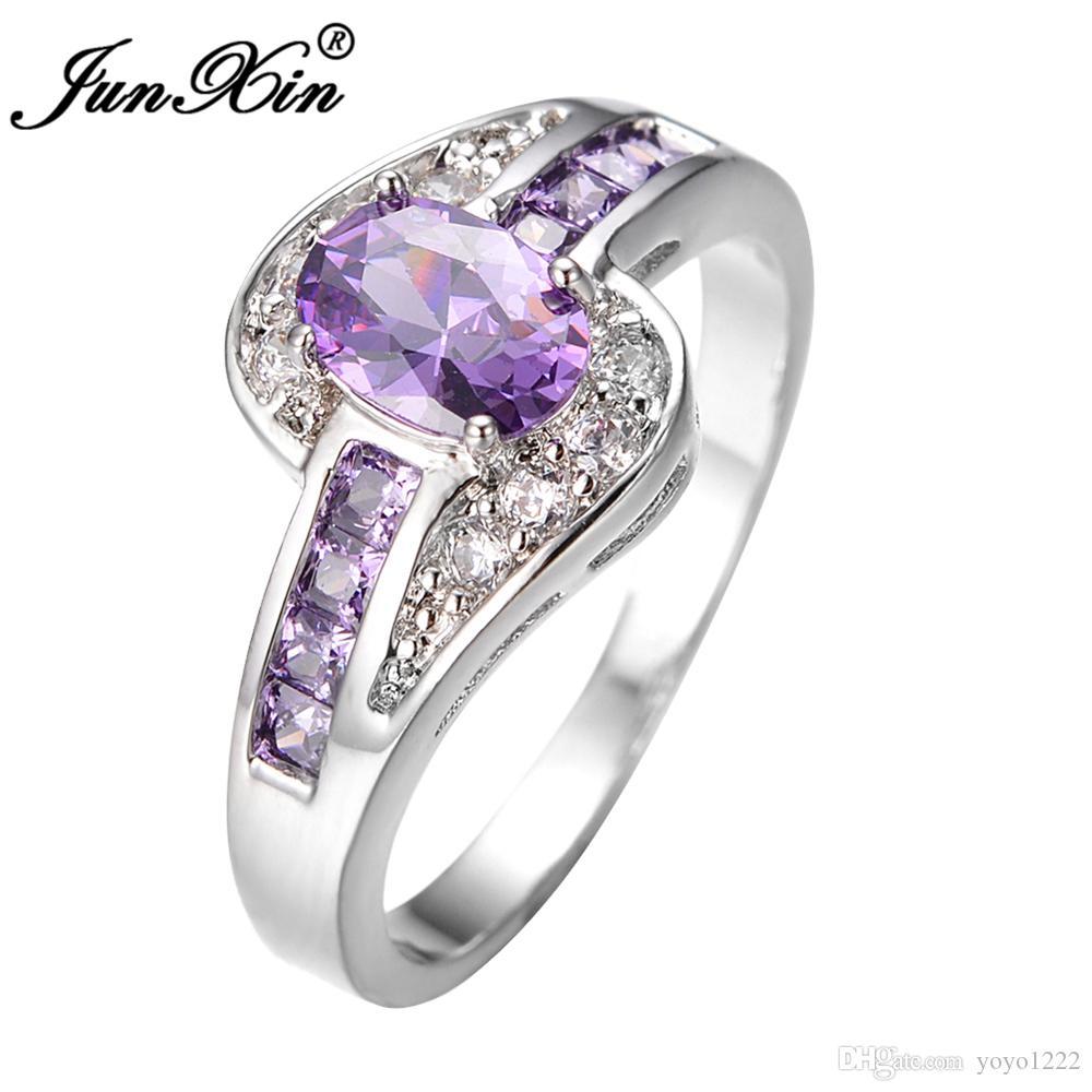 여성 보라색 타원형 반지 패션 화이트 블랙 골드 보석 빈티지 결혼 반지 여성용 생일 돌 선물 가득