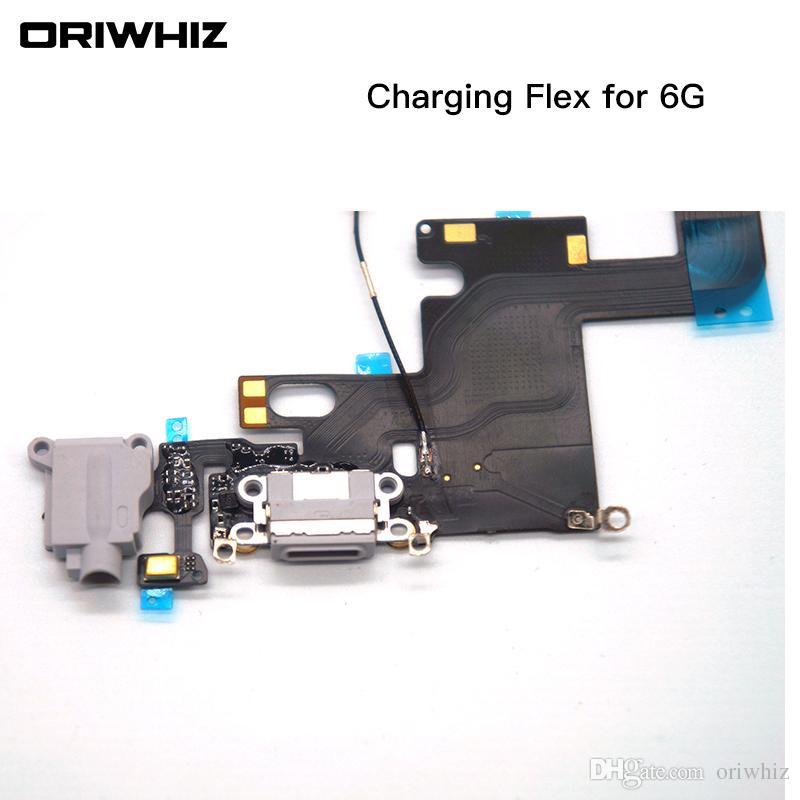 Per iPhone 6 6 Plus 6Plus Caricatore per dock USB Caricando le cuffie Porta audio Cavo flessibile Parte di ricambio Colore bianco Nero Può mescolare l'ordine
