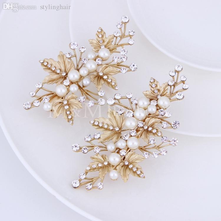 Großhandels-2pcs / set simulierte Perlen-Gold überzogene Blätter Haarnadeln, die Hochzeits-Schmuck-Brauthaar-Zusätze TS024 Wedding sind