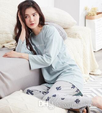 Autumn and winter new ladies long sleeves cotton pajamas suit Korean round neck collar sets of casual home service