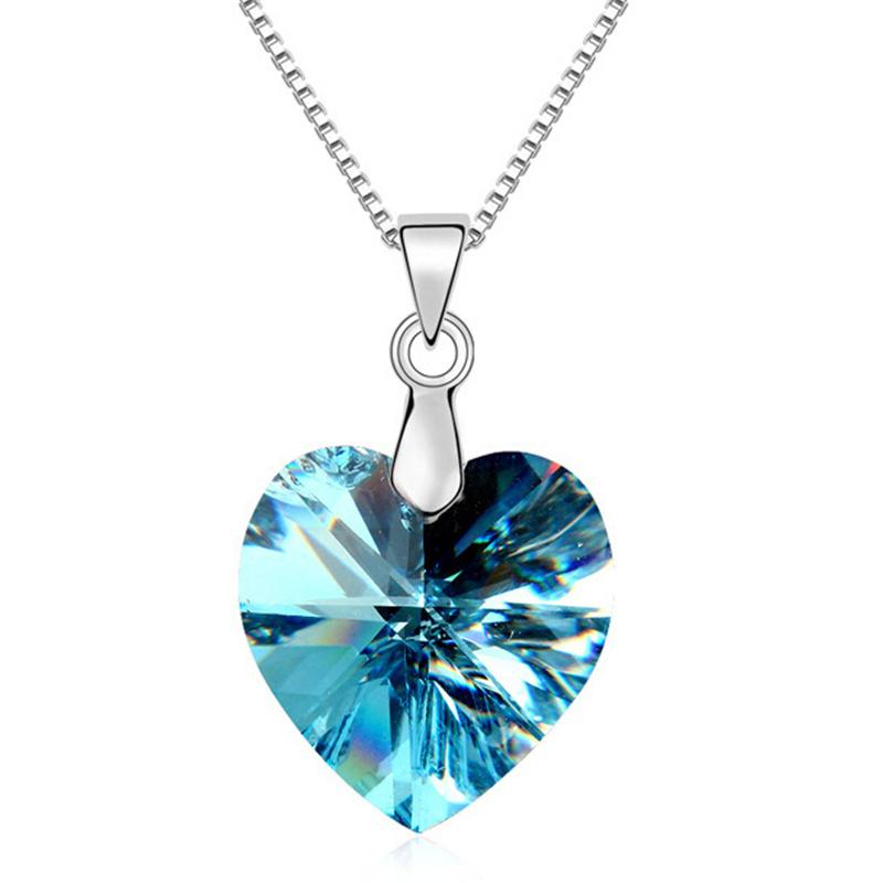Female Heart Necklace Pendants Fashion Jewelry for Women made with Swarovski Elements 18K White Gold Plated 10492