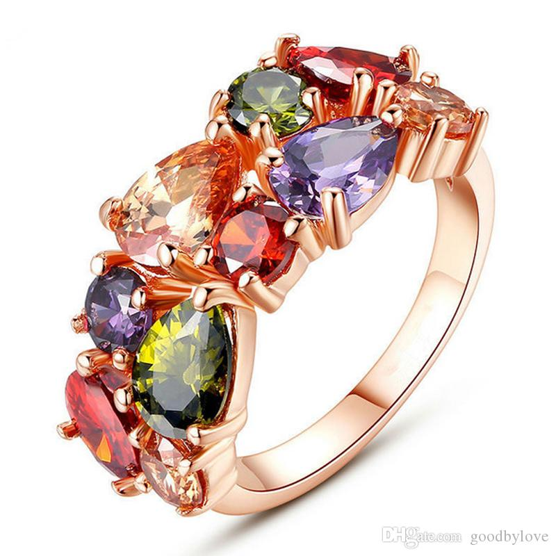 18K Rose Gold Plated Multicolor Cubic Zirconia CZ Engagement Wedding Rings for Women Fashion Bridal Jewelry Best Gift