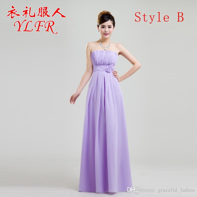 6 Styles Chiffon Purple Bridesmaid Dresses Long V Neck One Shoulder ...