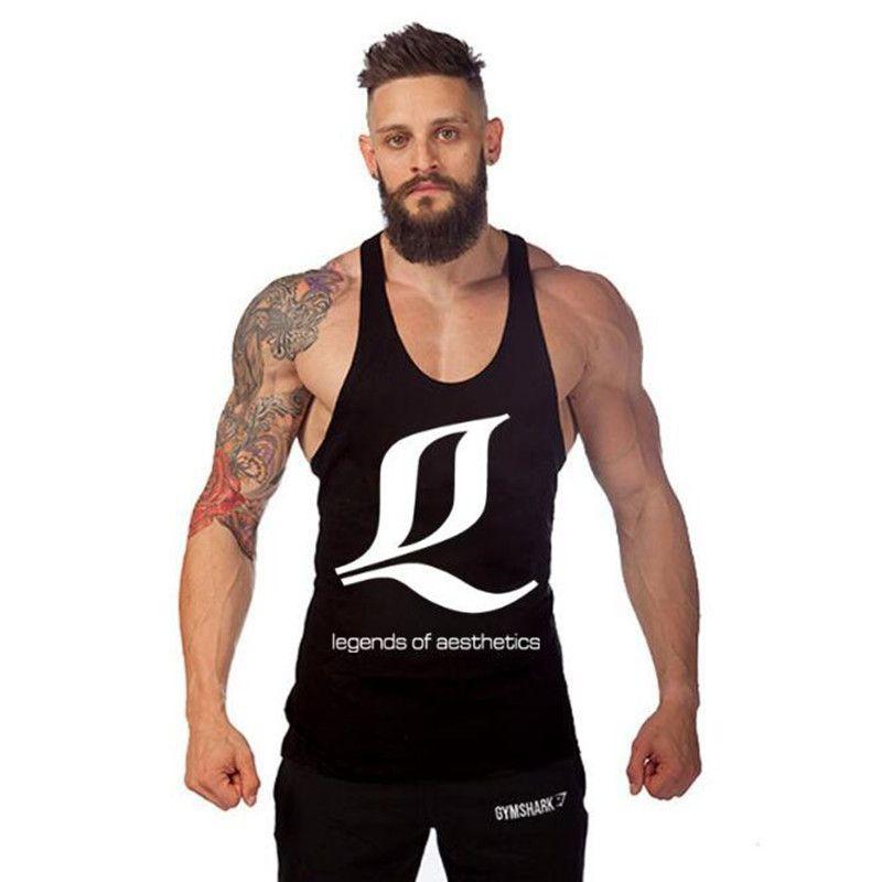 Gli uomini di ginnastica canotte Fitness Uomo Stampa Stringer 100% cotone Vest Canotta Bodybuilding Sport Undershirt abbigliamento da palestra Vest muscolare Canotta Tees 13