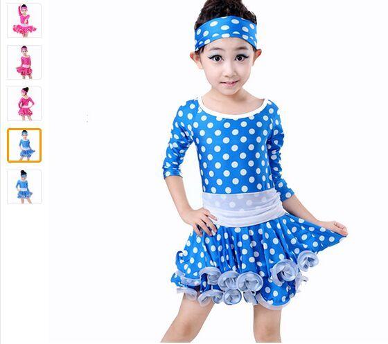 2018 Vestido de baile latino para niñas Dot Rose / Blue Kids Vestido de traje de baileHair Band Niños Vestidos de baile latino Ropa de baile de manga larga
