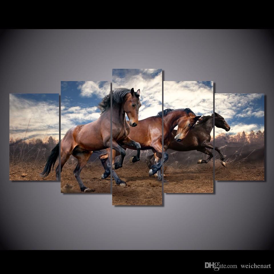 5 Paneli HD Baskılı Hayvanlar Wall Art Canvas Dekor Poster Kanvas Duvar Boyama Baskı Boyama At Resmi Running